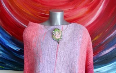 """Poncho """"Rosenblüten und Lavendel"""""""